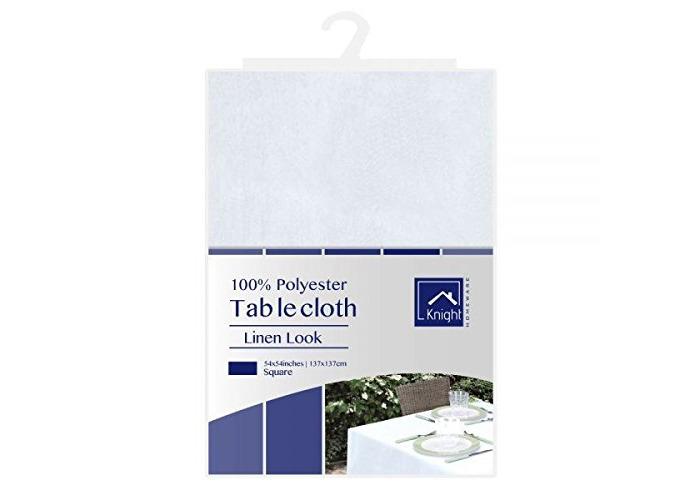 Knight 100% Polyester Linen Look Table Cloth, Premium Quality Hem Edge - White (Square (137x137 cm)) - 1