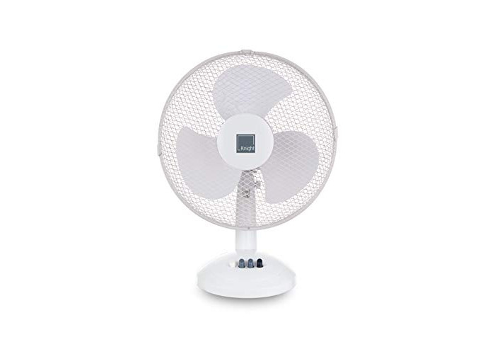 """Knight 12"""" Desk Fan, 3 Speed Setting, Oscillating with Tilting Head, Portable, Low Noise Motor, Suitable for Office & Home - White & Black (White) - 1"""