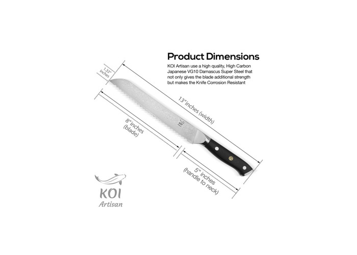 KOI ARTISAN Bread Kitchen Knife - Signature Range 67 Layers - Damascus Chef Knife 8 Inch Blade - Professional VG10 Super Steel - Corrosion & Stain Resistant - Elegant Presentation Box - 2