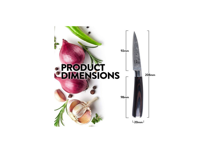 KOI ARTISAN -Paring Knife 3.5 Inch-Professional Kitchen Knife-Japanese High Carbon Stainless Steel-Razor Sharp Blade-Stylish Damascus Pattern-Ergonomically Designed-Stain & Corrosion Resistant - 2
