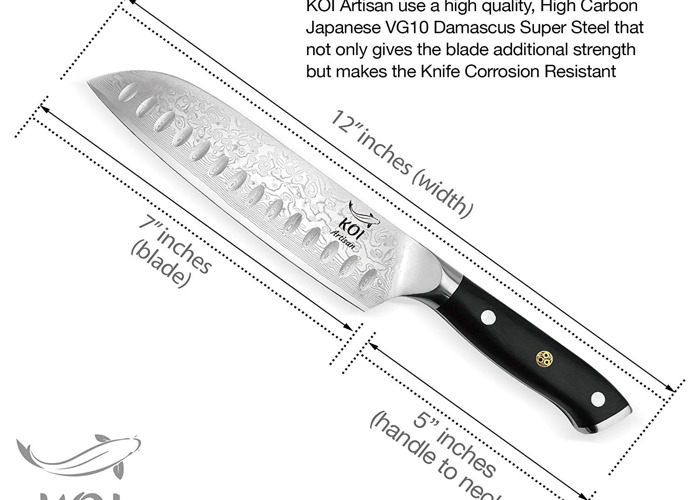 KOI ARTISAN- Santoku Knife-7 Inch-Professional Kitchen Chef Knives-Razor Sharp Chef Blade-67 Layers of Premium Japanese Damascus VG10 Super Steel-Corrosion & Stain Resistant- Lifetime Warranty - 2