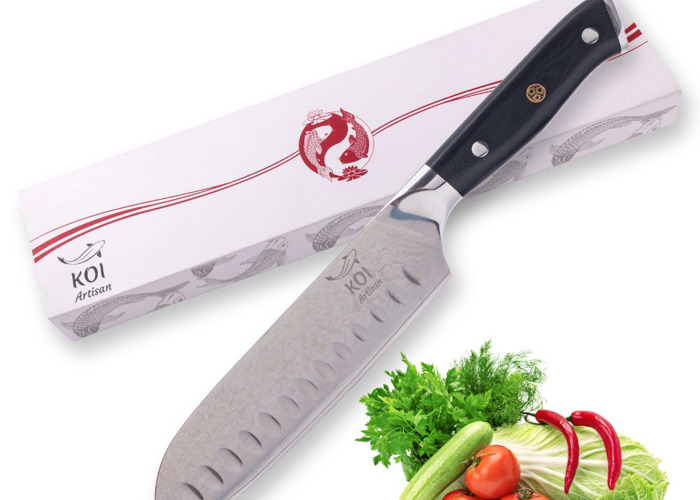 KOI ARTISAN- Santoku Knife-7 Inch-Professional Kitchen Chef Knives-Razor Sharp Chef Blade-67 Layers of Premium Japanese Damascus VG10 Super Steel-Corrosion & Stain Resistant- Lifetime Warranty - 1