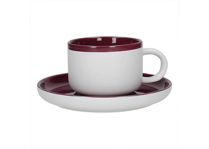 La Cafetiere Barcelona 290ml Tea Cup & Saucer Plum - 1