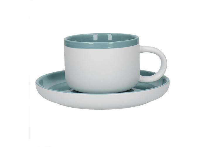 La Cafetiere Barcelona 290ml Tea Cup & Saucer Retro Blue - 1
