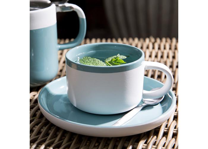 La Cafetiere Barcelona 290ml Tea Cup & Saucer Retro Blue - 2