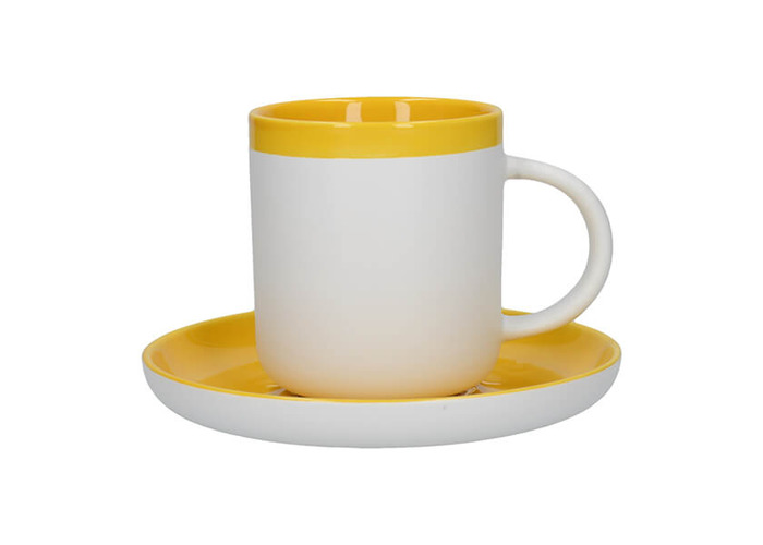 La Cafetiere Barcelona 300ml Coffee Cup & Saucer Mustard - 1