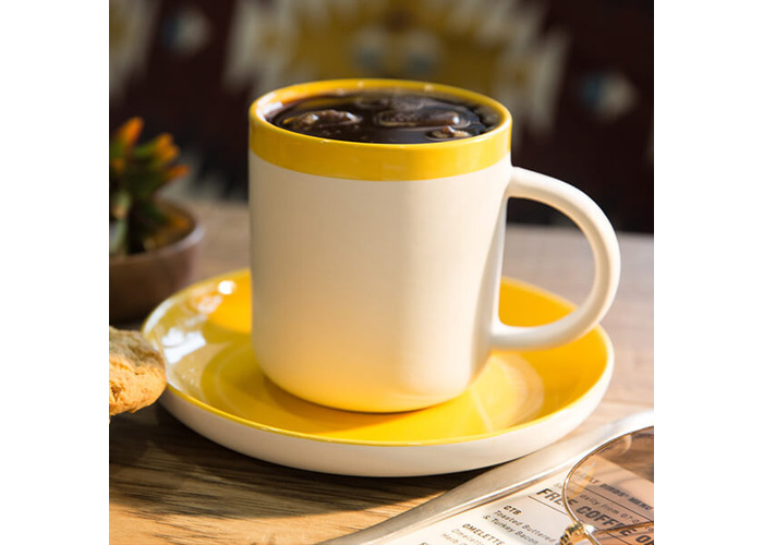 La Cafetiere Barcelona 300ml Coffee Cup & Saucer Mustard - 2