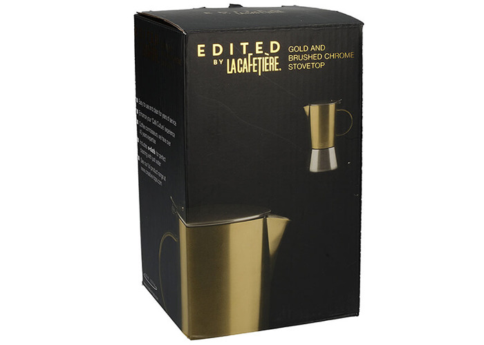 La Cafetiere Edited 4 Cup Stainless Steel Stovetop Espresso Maker Brushed Gold - 2