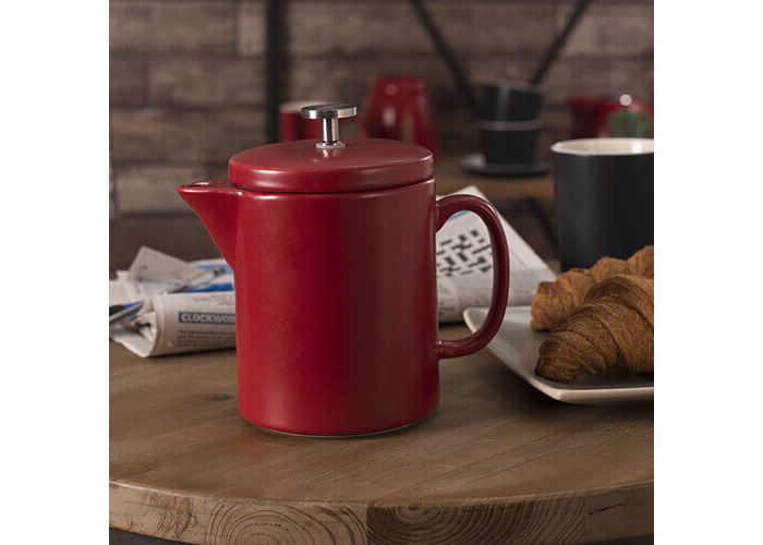La Cafetière Barcelona Contemporary Ceramic French Press Coffee Maker, 900 ml (1.5 Pints / 6 Cups) - Red - 2