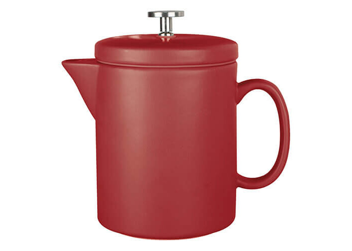 La Cafetière Barcelona Contemporary Ceramic French Press Coffee Maker, 900 ml (1.5 Pints / 6 Cups) - Red - 1