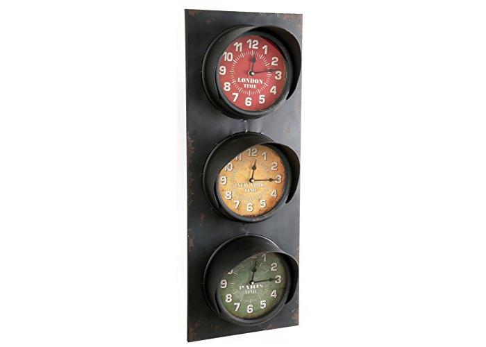 Large Metal Wall Mounted Traffic Light World Time Clock ~ London Paris New York Clock - 1