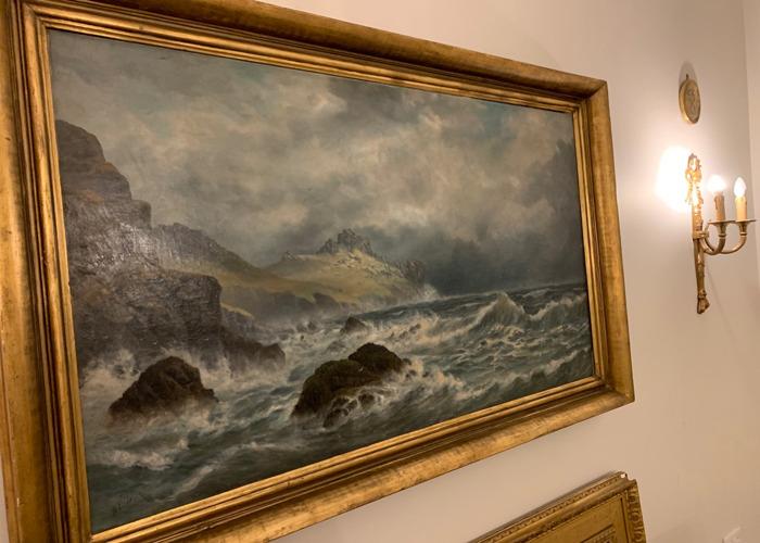 Large original antique oil painting  - 1