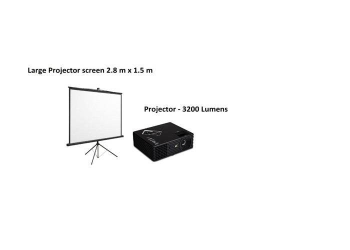Large projector screen + projector View Sonic 3200 Lumens - 1