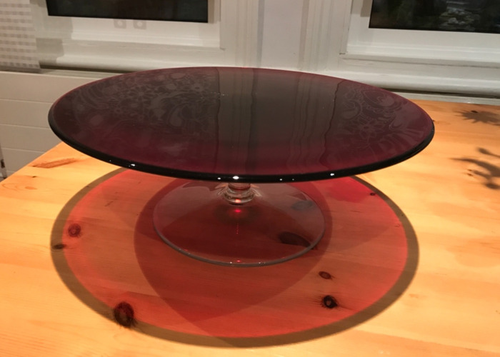 Large Red Glass Cake Stand - 1