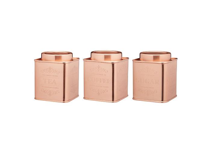 Le Xpress Copper Coffee, Tea & Sugar Set Of 3 Storage Tins - 1