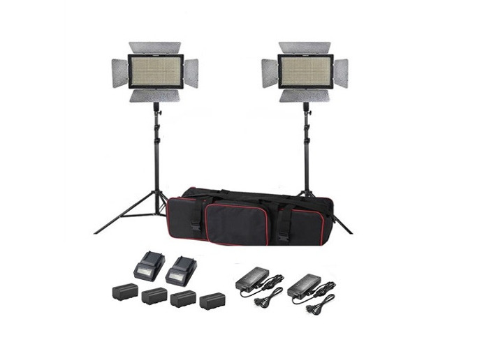 2x LED Lights Video Light, Battery powered, Dimmable 3200-5500K - 1