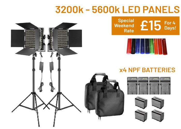 LED Panel Light 3200k - 5600k Dimmable, Barn Doors, Battery - 1