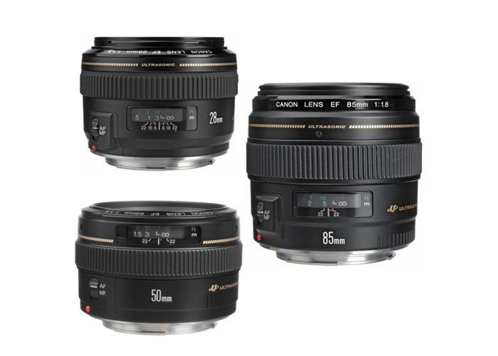 Lens Kit Canon EF 28mm f/1.8 50mm f/1.4 85mm f/1.8 - 1