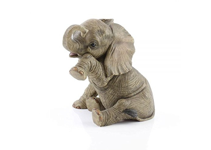 Lesser & Pavey 20CM RESIN BABY ELEPHANT SITTING TEARDROP HOME DECORATION ORNAMENT FIGURINE - 1