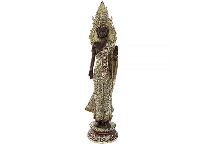 Lesser & Pavey EXOTIC ART STANDING DECORATED BRONZE DRESSED BUDDHA 40CM HOME DECORATION - 1