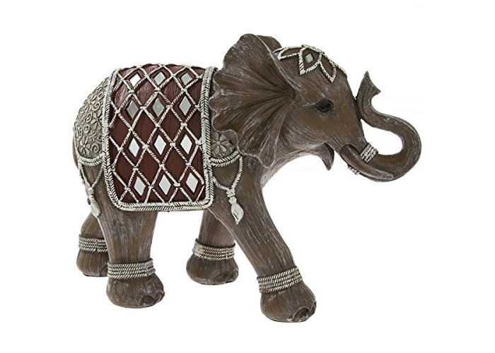 Lesser & Pavey INDIAN GREY SILVER ELEPHANT DECORATED ORNAMENT HOME DECORATION 28CM - 1