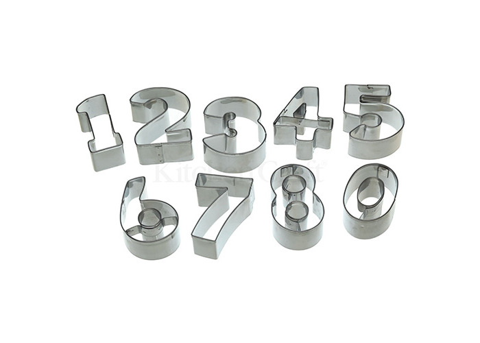 Let's Make Stainless Steel Numeral Cookie Cutter Set of 9 with Tin - 1
