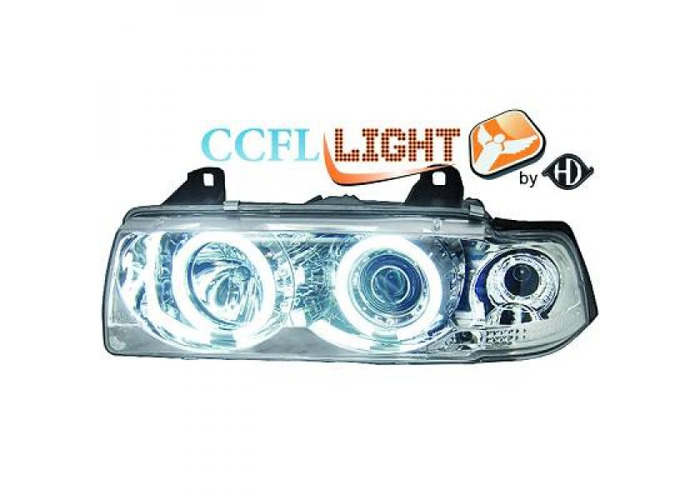 LHD 2 door CCFL Projector Headlights Pair Clear Chrome For BMW 3 Series E36 - 1