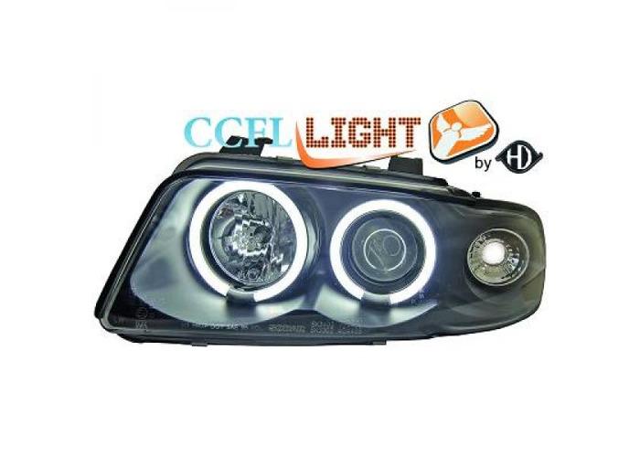 LHD CCFL Projector Headlights Pair Clear Black For Audi A4 Saloon Avant 8D2 - 1