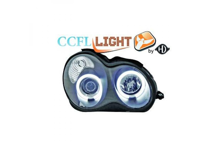 LHD CCFL Projector Headlights Pair Clear Black For Mercedes C180-320 W203 00-On - 1