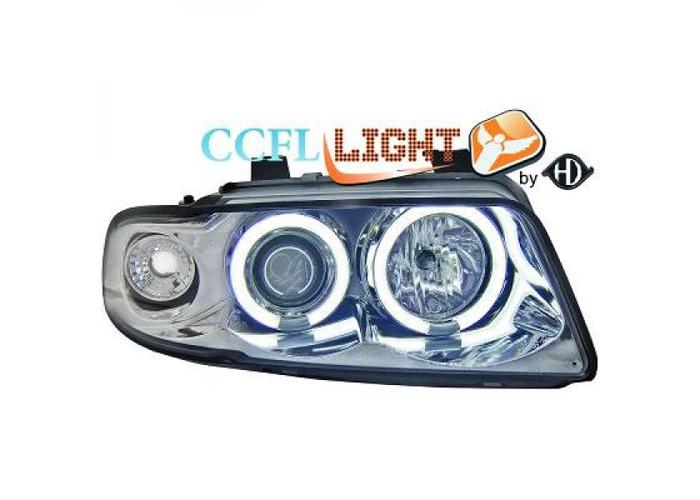 LHD CCFL Projector Headlights Pair Clear Chrome For Audi A4 Saloon Avant 8D2 - 1