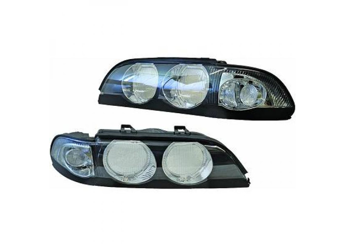 LHD Design OS NS Headlight Pair Angel Eyes Black For BMW 5 Series E39 95-00 - 1