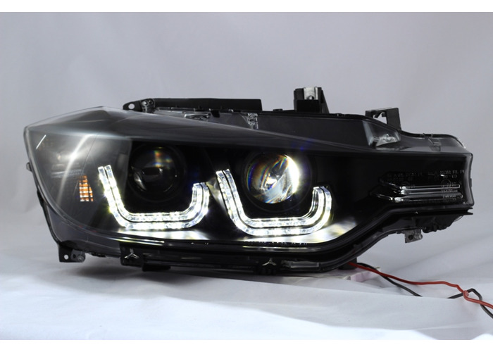 LHD For BMW 3 Series F30 F31 2011-15 Black LED DRL Double U Projector Headlights - 1