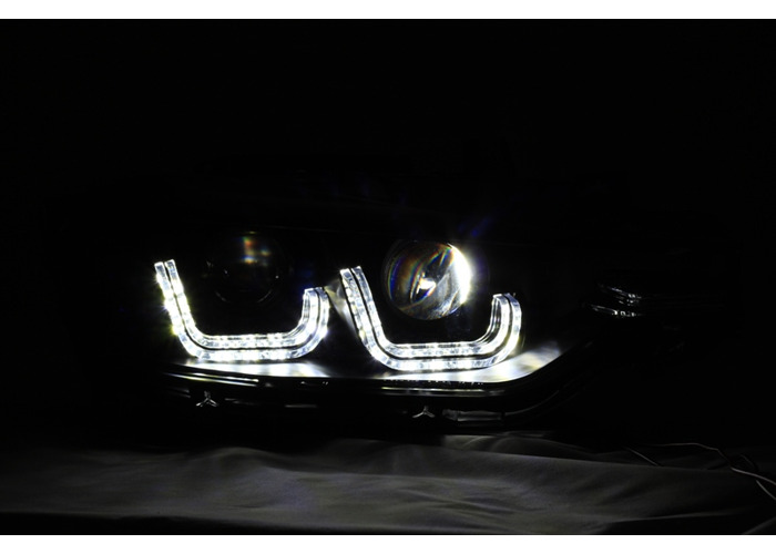 LHD For BMW 3 Series F30 F31 2011-15 Black LED DRL Double U Projector Headlights - 2