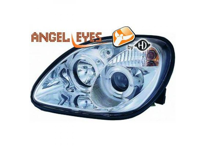 LHD Headlight Pair Angel Eyes Clear Chrome H1 H1 For Mercedes SLK R170 96-04 - 2