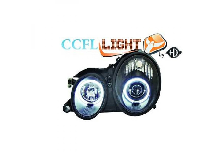 LHD OS NS CCFL Projector Headlights Pair Clear Black For Mercedes CLK C208 97-02 - 1