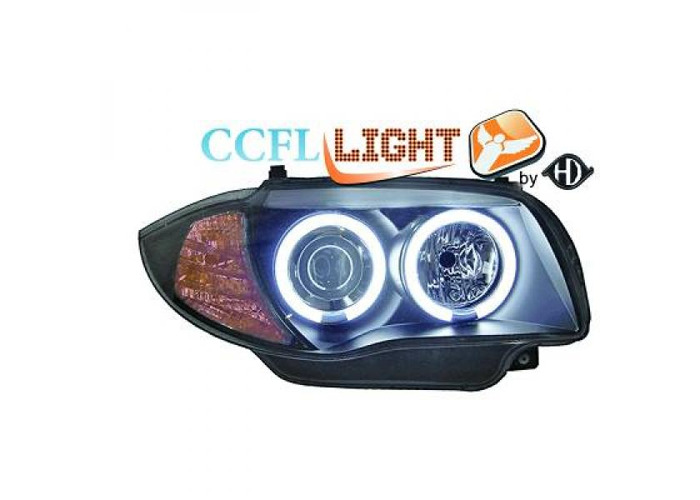 LHD Projector CCFL Headlights Pair Clear Black For BMW 1 Series E81 E87 04-11 - 1