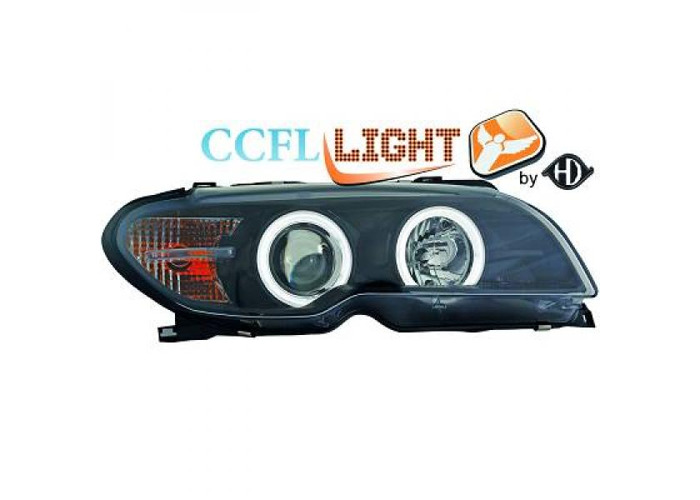 LHD Projector CCFL Headlights Pair Clear Black For BMW 3 Series E46 Coupe 03-07 - 1