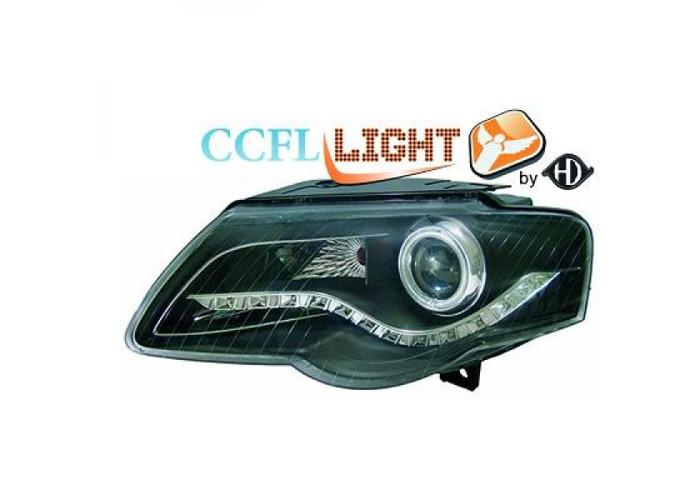 LHD Projector CCFL Headlights Pair Clear Black For VW Passat Saloon Estate 05-10 - 1