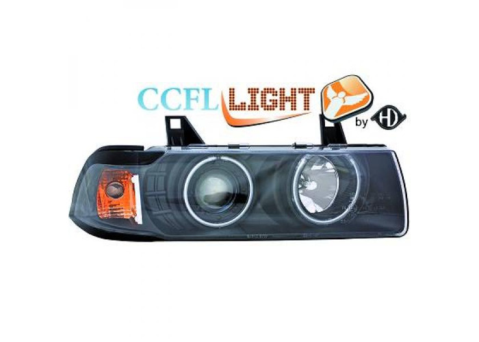 LHD Projector CCFL Headlights Pair Clear Black H1 H3 For BMW 3 Series E36 90-99 - 1