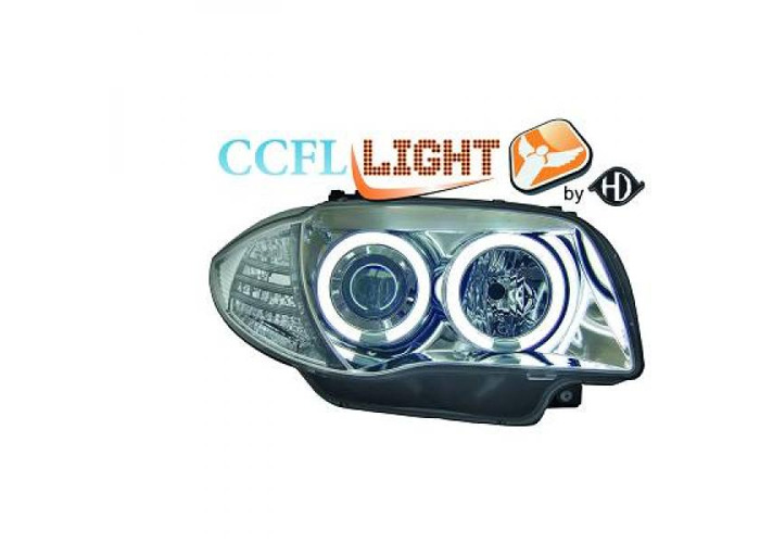 LHD Projector CCFL Headlights Pair Clear Chrome For BMW 1 Series E81 E87 04-11 - 1
