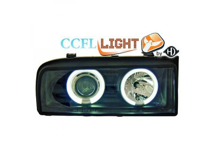 LHD PROJECTOR CCFL Projector Headlights Pair Clear Black For VW Corrado 87-95 - 1