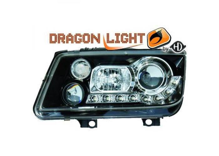 LHD Projector Headlights Headlamp Pair LED Dragon Clear Black For VW Bora 98-05 - 2