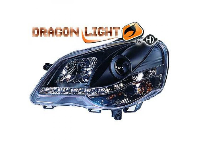 LHD Projector Headlights Headlamp Pair LED Dragon Clear Black For VW Polo 05-09 - 2