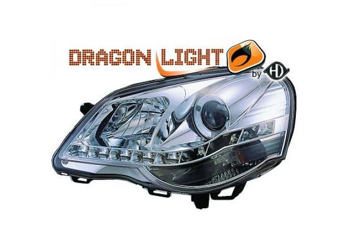 LHD Projector Headlights Headlamp Pair LED Dragon Clear Chrome For VW Polo 05-09 - 2