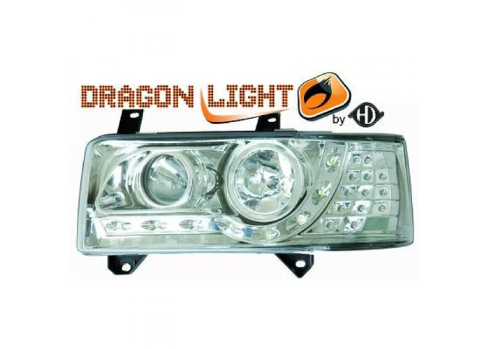 LHD Projector Headlights Headlamp Pair LED Dragon Clear Chrome For VW T4 90-03 - 2