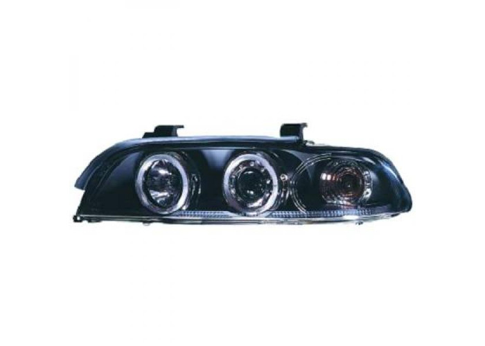 LHD Projector Headlights Pair Angel Eyes Clear Black For BMW 5 Series E39 95-00 - 1