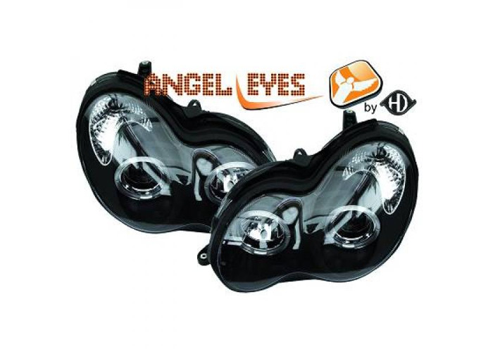 LHD Projector Headlights Pair Angel Eyes Clear Black For Mercedes W203 00-On - 2