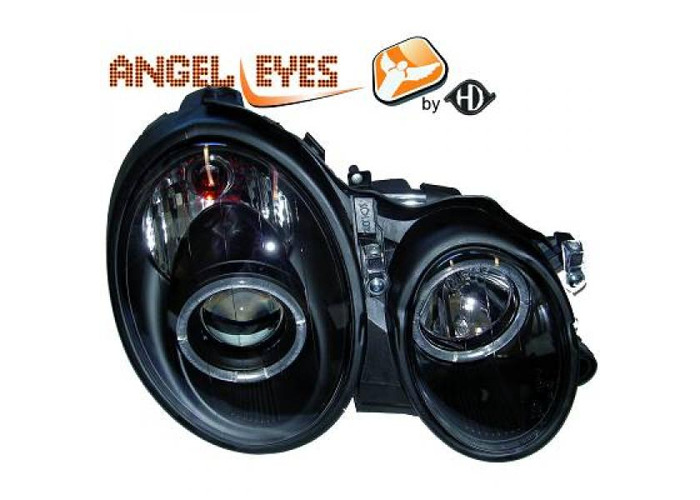 LHD Projector Headlights Pair Angel Eyes Clear Black For Mercedes W210 95-02 - 1
