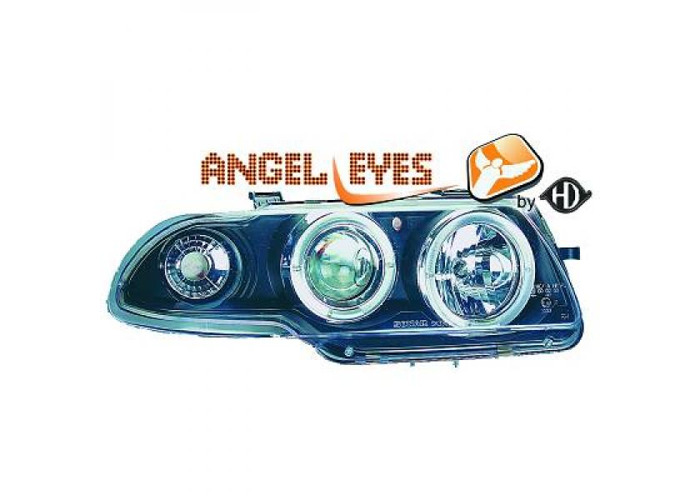 LHD Projector Headlights Pair Angel Eyes Clear Black For Vauxhall Astra F 91-97 - 1