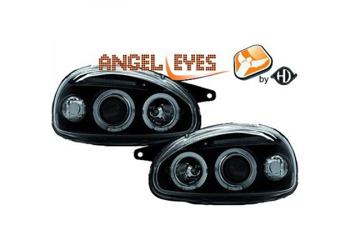 LHD Projector Headlights Pair Angel Eyes Clear Black For Vauxhall Corsa B 93-00 - 1